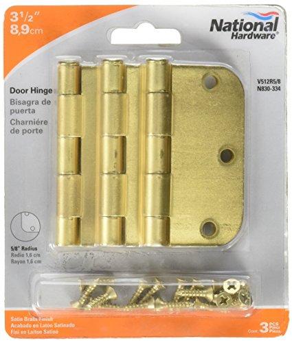 M BRANDS HHI N830-334 Door Hinge, 3.5-Inch, Satin Brass, 3-Pack ()