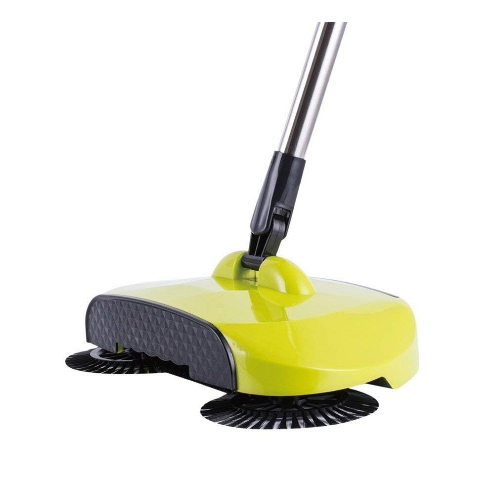 Jsmhh 3 in 1 Household Lazy Automatic Hand Push Sweeper Broom 360 Degree Rotating Cleaning Machine Sweeping Tool Without Electricity Dustpan Trash Bin, Violet (Color : Highend Yellow)