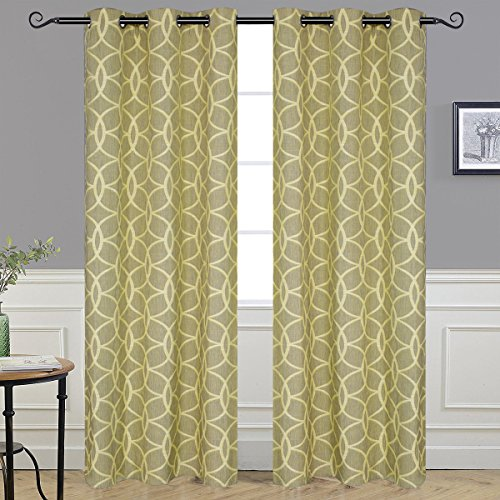 Alice Brown Circle Drapes, Fashion Design Print Thermal Insulated Curtain Grommet Top Living Room 2 Panels W42'' x L84''