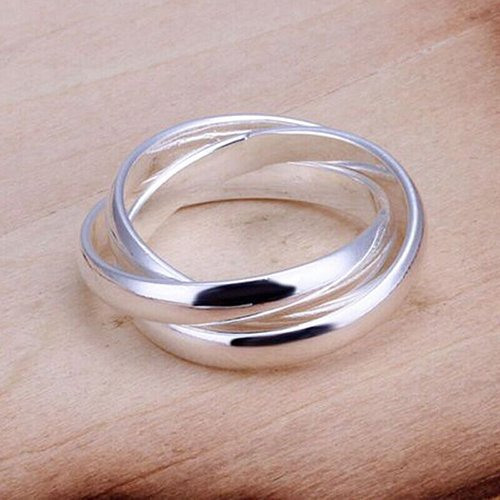 Quietcloud Women Fashion Jewelry 925 Sterling Silver Plated Triple Circle Band Ring Girls Dress Acce ()