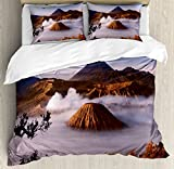 Volcano King Size Duvet Cover Set by Ambesonne, Mount Bromo Volcanoes Taken in Tengger Caldera East Java Indonesia, Decorative 3 Piece Bedding Set with 2 Pillow Shams, Light Caramel Blue White