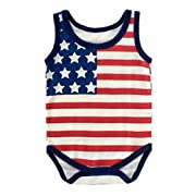 Winzik 4th of July Baby Outfits American Flag Romper Newborn Infant Boys Girls Bodysuit Jumpsuit Clothes (0-6 months/70, Sleeveless)