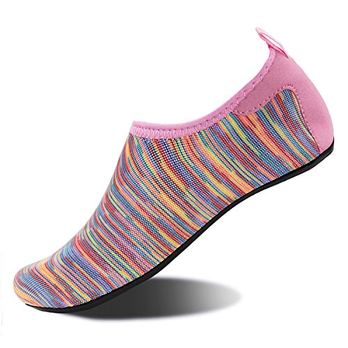Aqua Sock Womens Footwear - Water Shoes for Womens and Mens Summer Barefoot Shoes Quick Dry Aqua Socks for Beach Swim Yoga Exercise (Colorful Pink, 44/45)