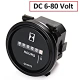 SEARON DC 12v 24v 36v 48V 60V 72V Quartz Hour Meter Round for Marine Boat Engine Motocross Marine Motorcycle Snowmobil ATV Boat Generators Tractor Lawn Mower Green