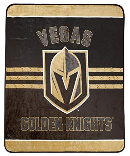 Price comparison product image Vegas Golden Knights Luxury Velour High Pile Blanket - Twin Size 60 x 70 Inch [Black]