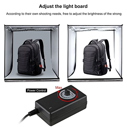Portable Photo Studio 16'' Photography Light Box, Shooting Light Tent, Adjustable Brightness Folding Professional Booth Table Top Photography Lighting Kit LED Lights with 3 Colors Backdrops by PULUZ P (Image #2)