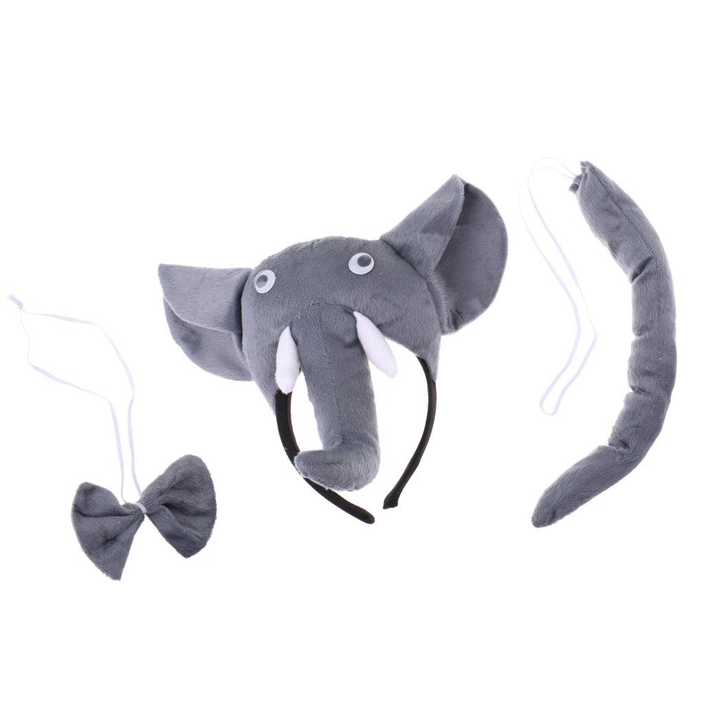 B Baosity 3x Diadema 3x Cola 3x Pajarita Accesorios Disfraz Elefante Cosplay Fiestas de Disfraces Noche de Ni/ños