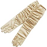 ZaZa Bridal Gathered Shiny Stretch Satin Dress Gloves-One Size Fits Most-Light Gold