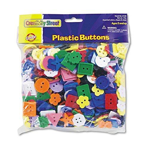 Chenille Kraft 6120 Plastic Button Assortment, 1 lbs, Assorted Colors/Sizes