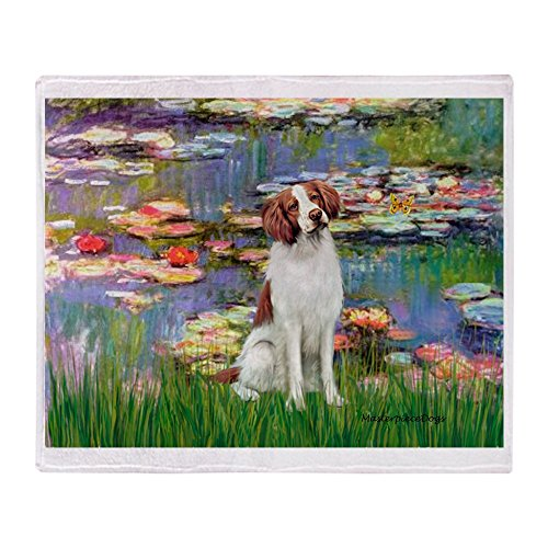 (CafePress Lilies 2/Brittany Spaniel Soft Fleece Throw Blanket, 50