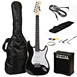 RockJam 6 ST Style Electric Guitar Super Pack with Amp, Gig Bag, Strings, Strap, Picks, Right, Black (RJEG02-SK-BK)