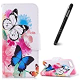 Slynmax Huawei P Smart Phone Case, Huawei P Smart Wallet Case, Ultra Slim Lightweight Bookstyle Printing Three Butterflies Design Premium Flip Phone Cover Folio Leather Case with Stand Function
