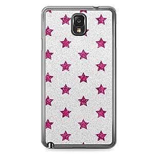 Glitter Samsung Galaxy Note 3 Transparent Edge Case - Design Pink And Silver Stars