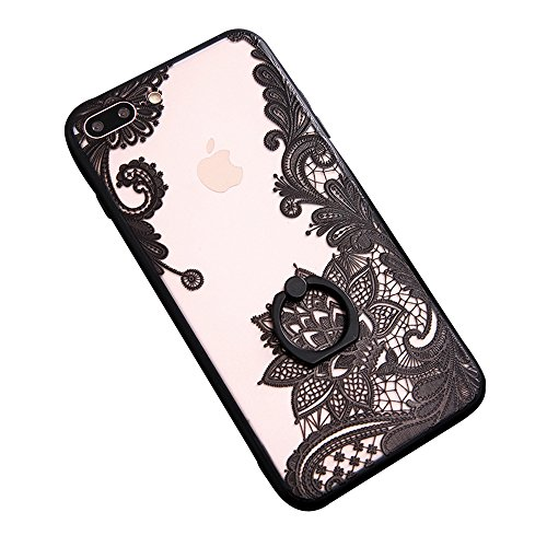 iPhone 7 Plus Case Finger Ring Stand - JAZ Ultra Thin [3D Relief Sculpture] Silicone Case Cover With 360 Rotating Ring Grip/Stand Holder/Shockproof for iPhone 7 Plus/iPhone 8 Plus(Flower) (Flower Relief)