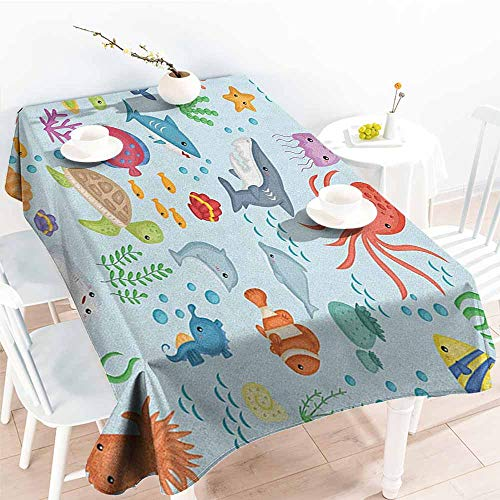 EwaskyOnline Spill-Proof Table Cover,Marine Bunch of Sea Animals Submarine Crabs Squid Lobster Octobus Seaweed Starfish Stingray,High-end Durable Creative Home,W60X90L, Multicolor