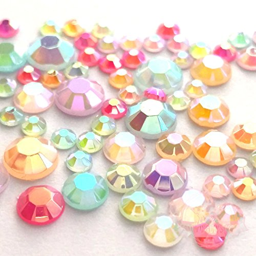 600 Mixed Color & Size AB Jelly Rhinestone 3,4,5,6mm Flatback Decor Nail (Mm Nails)