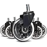 Office Chair Caster Wheels,Airkoul 5Pcs 3 Inches PU Replacements Wheels Universal Fit Safe for Hardwood & Carpet Floor ,Smooth & Quiet