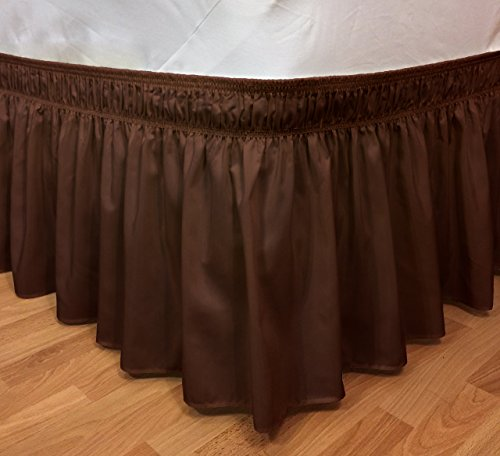 Elegant Elastic Ruffle Bed Skirt Easy Warp Around King/Queen Size Bed Skirt Pins Included, (Brown) - Discount King Size Beds