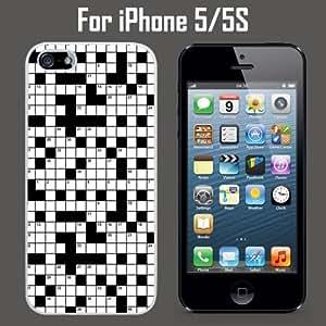 Crossword Puzzle Pattern Custom Case/ Cover/Skin *NEW* Case for Apple iPhone 5/5S - White - Hard Case (Ships from CA) Custom Protective Case , Design Case-ATT Verizon T-mobile Sprint ,Friendly Packaging - Slim Case