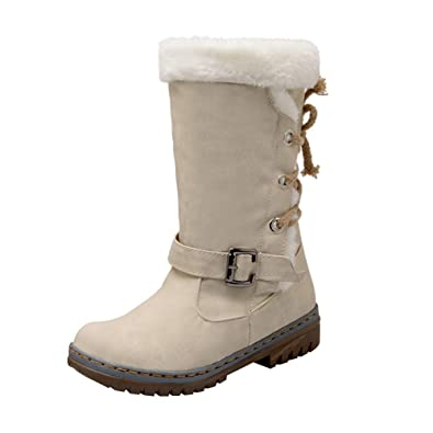 f33db2a97e9 ZYUEER Femmes Boucle Dames Chaud Bottes Bottines Chaussures