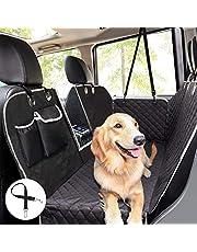 Pekute hund bilsätesskydd 100 % vattentätt, baksätesskydd för hundar med vy fönster/sidoklaffar/förvaringsväskor, hund bilhängmatta reptålig halkfri baksida sätesskydd för bilar lastbilar SUV (146 x 136 cm)