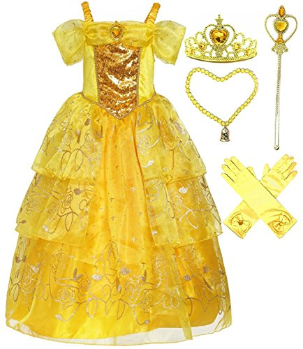 Dress Up Gown - Romy's Collection Girls Deluxe Yellow Belle Dress up Gown Costume w/Accessories 3-4
