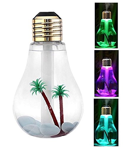 Bulb Humidifier, BeiLan 7 Color Light Bulb Ultrasonic Humidifier Portable Desktop USB Mini Quiet Diffuser Atomizer Cool Mist Air Purifier, with 400ML Capacity, for Applicable to Any Place (Gold) by BeiLan