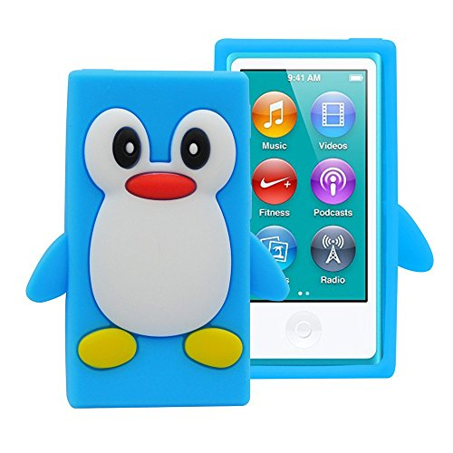 FiveBox 3d Penguin Soft Silicone Rubber Skin Case Cover for Apple iPod Nano 7th Generation - Light Blue