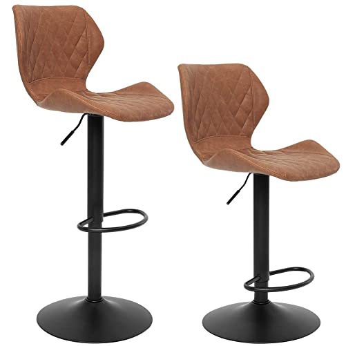SUPERJARE Set of 2 Adjustable Bar Stools, PU Swivel Barstool Chairs with Back, Pub Kitchen Counter Height, Brown