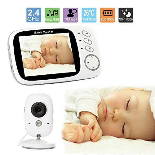 Wireless Video Baby Monitor with Digital Camera, 3.2inch LCD Display Screen Night Vision Temperature Monitoring Lullabies Long Range and High Capacity Battery for Security