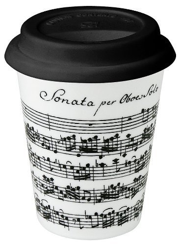 Konitz 9-Ounce Vivaldi Libretto White Travel Mugs and Silicon Lid White/Black, Set of 4 by Konitz