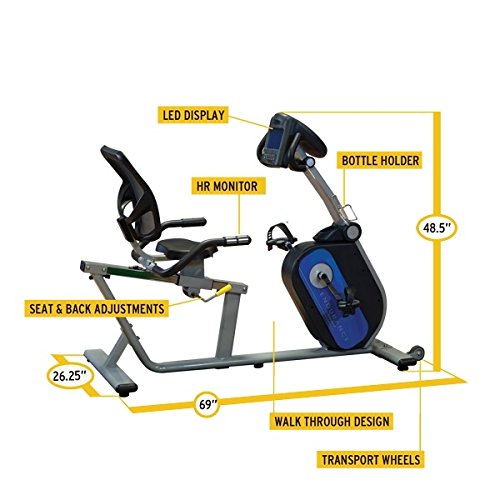 Body Solid B4R Endurance Recumbent Bike with LED Display and Transport Wheels by Endurance by Body-Solid (Image #1)