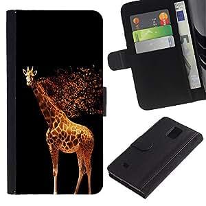 Paccase / Billetera de Cuero Caso del tirón Titular de la tarjeta Carcasa Funda para - Glowing Giraffe - Samsung Galaxy Note 4 SM-N910