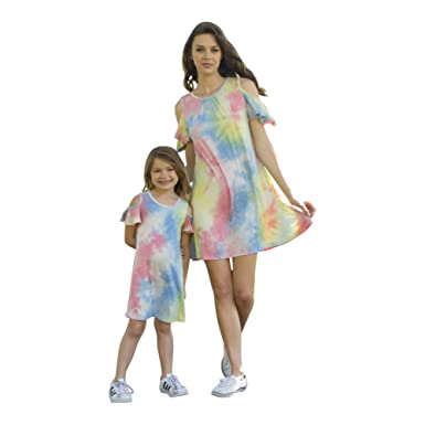 Petite Adele Women Blue Cold Shoulders Tie-Dye Summer Dresses S-XL ... 4e5a64c7d