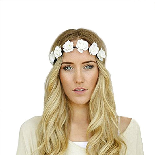 White Rose Headband (Love Sweety Women Flower Wreath Headband Floral Crown Garland Halo for Wedding Festivals HH14 (White))