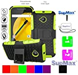 Motorola Moto E LTE Case,Moto E2 Cover Case,SupMax™ *Hybrid Rubberized* TPU+PC Scratchproof Shockproof Skidproof Impact Resistant Hard Shell With Kickstand [Gifts] for Moto E(2nd 2015)(Green)