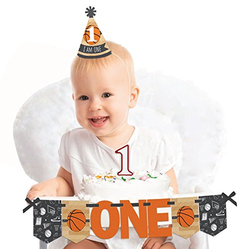 Big Dot of Happiness Nothin' But Net - Basketball 1st Birthday - First Birthday Boy or Girl Smash Cake Decorating Kit - High Chair Decorations]()