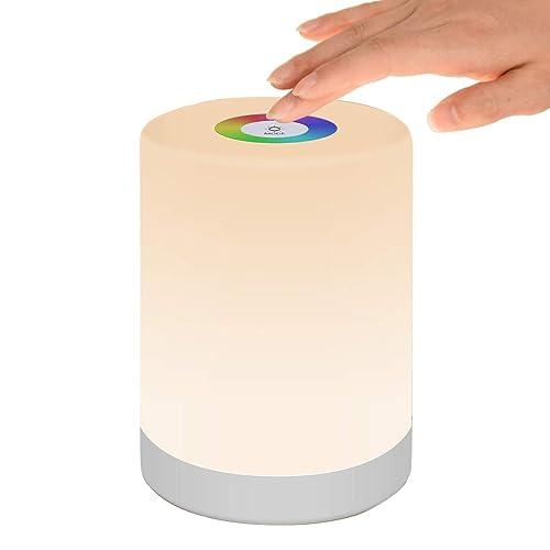 Luz de Nocturna LED Lámpara de Mesita de Noche Inteligente Control Tactil Regulable USB Recargable Portátil Cambio de Color RGB para Niños Habitación Cámping Blanco Cálido