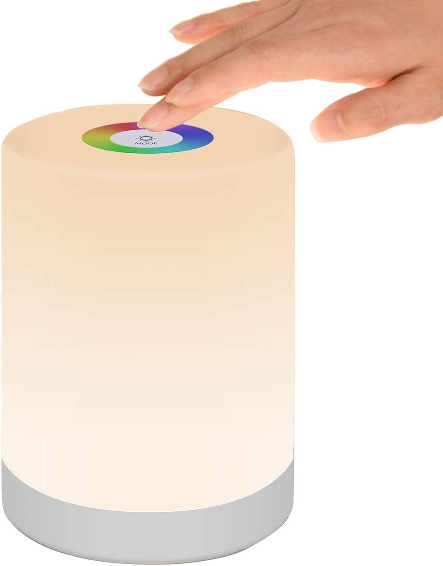 Luz de Nocturna LED, Lámpara de Mesita de Noche Inteligente, Control Tactil, Regulable, USB Recargable, Portátil, Cambio de Color RGB para Niños, Habitación, Cámping (Blanco Cálido)