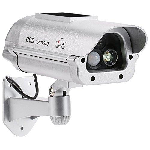 KKmoon Simulation PIR Sensor Detector CCTV Camera Solar Powered Fake Dummy Rainproof Bullet Security Camera for Indoor Outdoor Use