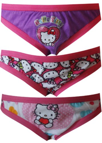 Hello Kitty 3 Pack Girls Bikini Style Panties for Little Girls (4) by Fruit of the Loom
