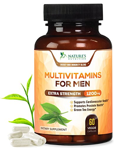 Once Daily Multivitamin for Men - with Whole Food & Organic Extracts with Vitamins C, D, E, B12, Saw Palmetto, Echinacea, Zinc, Calcium & Magnesium. Natural, Non-GMO Supplement - 60 Veggie Capsules