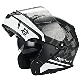 Traiangle Motorcycle Helmets Modular Dual Visor Flip Up (X-Large, Matte Black/White)