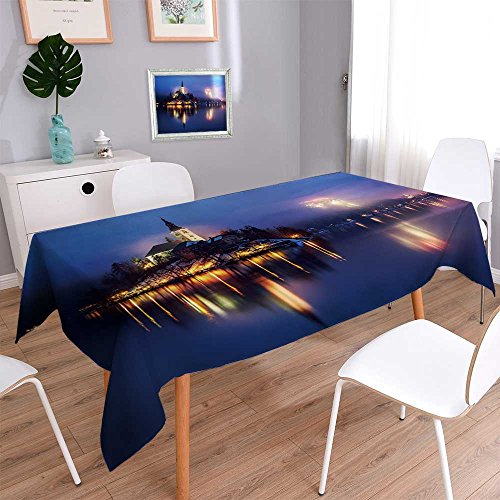 PRUNUSHOME Water Resistant Tablecloth Foggy dusk in Bled lake in Slovenia Great for Buffet Table, Parties, Holiday Dinner, Wedding & More/52W x 70L Inch by PRUNUSHOME