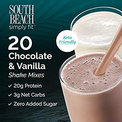South Beach Simply Fit Shake Mix - Chocolate & Vanilla, 20 ct Case - Keto-Friendly Protein Shakes to Support Healthy Weight Loss