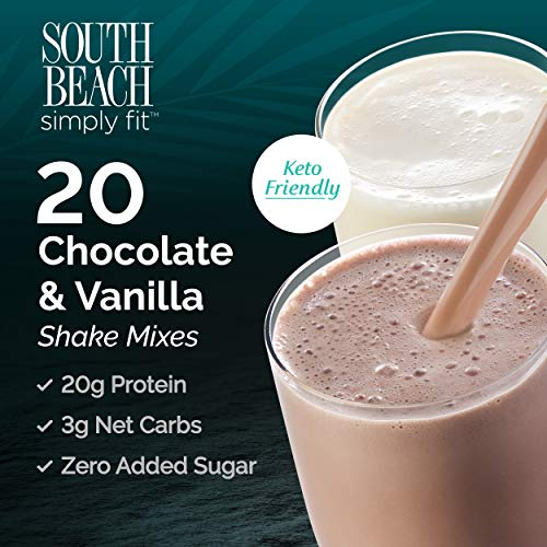 (South Beach Simply Fit Shake Mix - Chocolate & Vanilla, 20 ct Case - Keto-Friendly Protein Shakes to Support Healthy Weight)