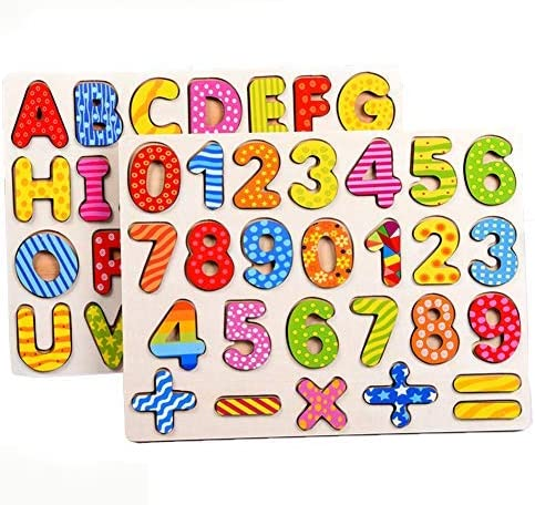 2PCS Jigsaw de Madera Pegged Puzzle Board Números de Colores Letras del Alfabeto Puzzle Kids Jigsaw Juguetes educativos