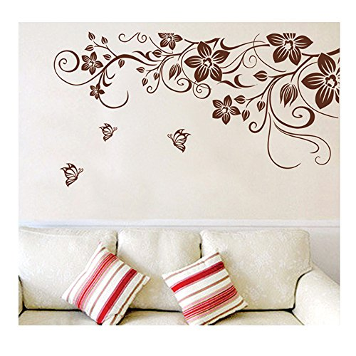 High Quality Adhesive Rooms Walls Vinyl DIY Stickers / Murals / Decals / Tattoos / Transfers With Delicate Flowers, Butterflies And Swirls Designs In Brown Color By VAGA