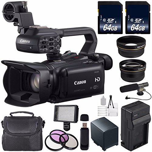 Canon XA20 Professional HD Camcorder #8453B002 (International Model) + 64GB SDXC Class 10 Memory Card + BP-820 Replacement Lithium Ion Battery + External Rapid Charger Bundle by 6Ave