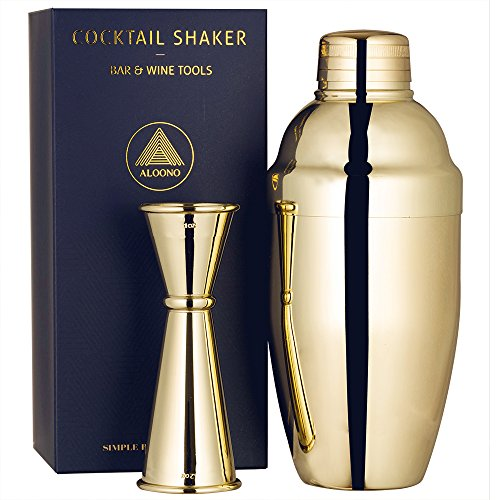 Cocktail Shaker Set By Aloono  18Oz Weighted Martini Shaker And Japanese Jigger  0 5Oz   2Oz   18 8 Professional Stainless Steel Cocktail Set With Recipes And Greeting Card   Gold Plated